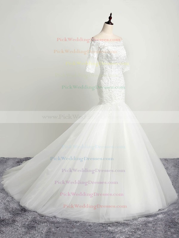 Trumpet/Mermaid Off-the-shoulder Tulle Appliques Lace Sweep Train 1/2 Sleeve Open Back Elegant Wedding Dresses #PWD00022853