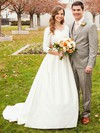 Modest Princess Scoop Neck Satin with Appliques Lace Sweep Train 3/4 Sleeve Wedding Dresses #PWD00022854
