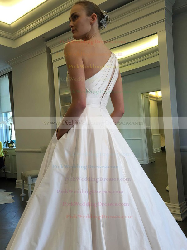 Classic Ball Gown One Shoulder Satin with Ruffles Sweep Train Wedding Dresses #PWD00022855