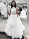 Princess Scoop Neck Organza Ruffles Sweep Train Two Piece Backless Boutique Wedding Dresses #PWD00022856