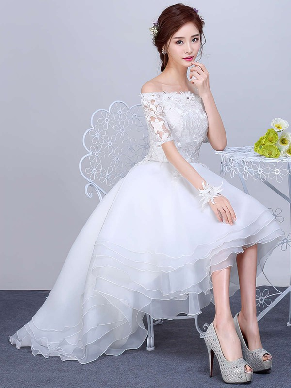 A-line Off-the-shoulder Organza Tulle Appliques Lace Asymmetrical 1/2 Sleeve High Low Pretty Wedding Dresses #PWD00022857