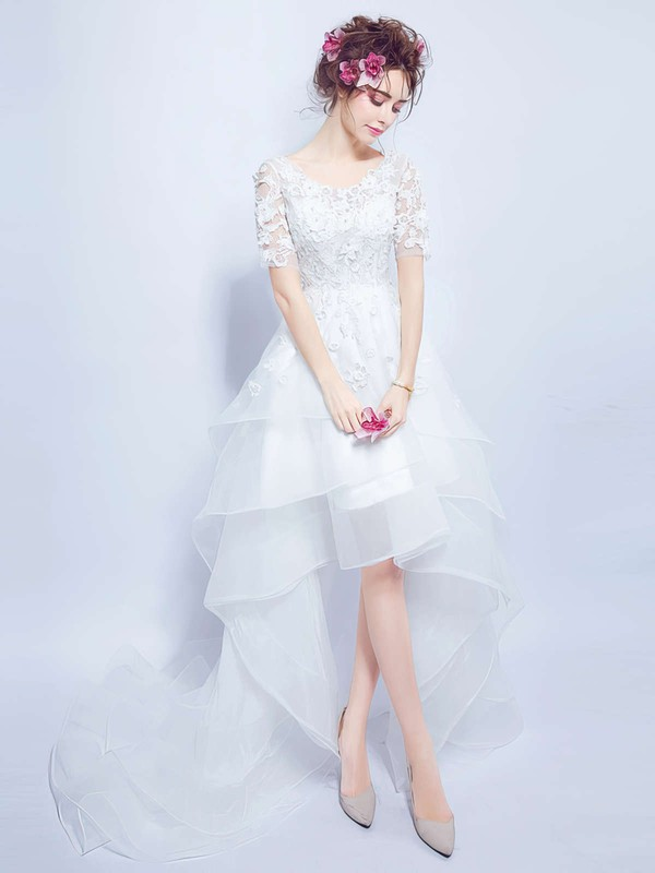 Sweet A-line V-neck Organza Tulle Appliques Lace Asymmetrical Short Sleeve High Low Wedding Dresses #PWD00022858