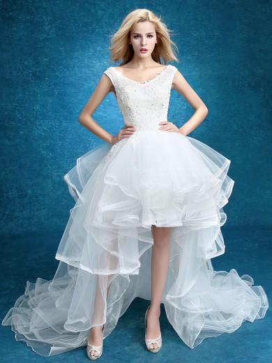 A-line V-neck Tulle with Appliques Lace Asymmetrical High Low Unique Wedding Dresses #PWD00022859