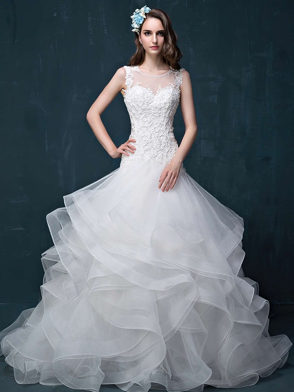 Trumpet/Mermaid Scoop Neck Organza Tulle Appliques Lace Court Train Open Back Fabulous Wedding Dresses #PWD00022860