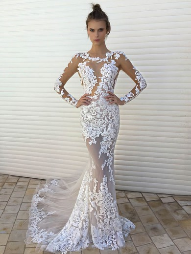 Sexy Trumpet/Mermaid Scoop Neck Tulle Appliques Lace Sweep Train Long Sleeve Wedding Dresses #PWD00022861