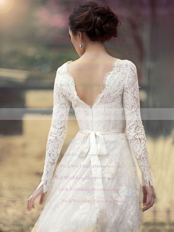 A-line Scoop Neck Lace Sashes / Ribbons Floor-length Long Sleeve Newest Wedding Dresses #PWD00022862