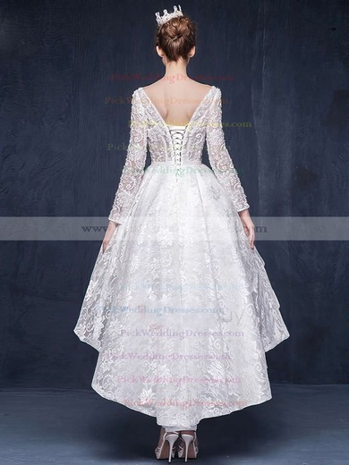 Different A-line Scoop Neck Lace Beading Asymmetrical Long Sleeve High Low Wedding Dresses #PWD00022863