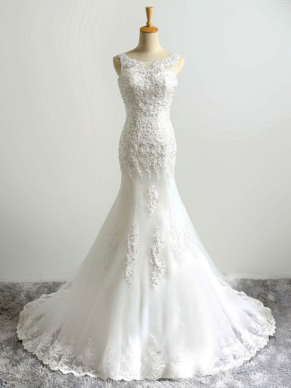 Trumpet/Mermaid Scoop Neck Tulle with Sequins Sweep Train Lace-up Wholesale Wedding Dresses #PWD00022864
