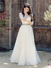 Beautiful A-line Scoop Neck Tulle Appliques Lace Floor-length 3/4 Sleeve Wedding Dresses #PWD00022865