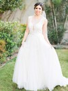 New Style A-line Scoop Neck Tulle with Sashes / Ribbons Sweep Train Wedding Dresses #PWD00022866