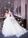 Ball Gown Strapless White Tulle Ruffles Court Train Backless New Arrival Wedding Dresses #PWD00022867