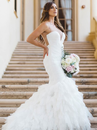 Sexy Trumpet/Mermaid Scoop Neck Tulle with Ruffles Sweep Train Wedding Dresses #PWD00022868