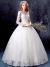 Prettiest Ball Gown V-neck White Tulle Appliques Lace Floor-length 3/4 Sleeve Wedding Dresses #PWD00022871