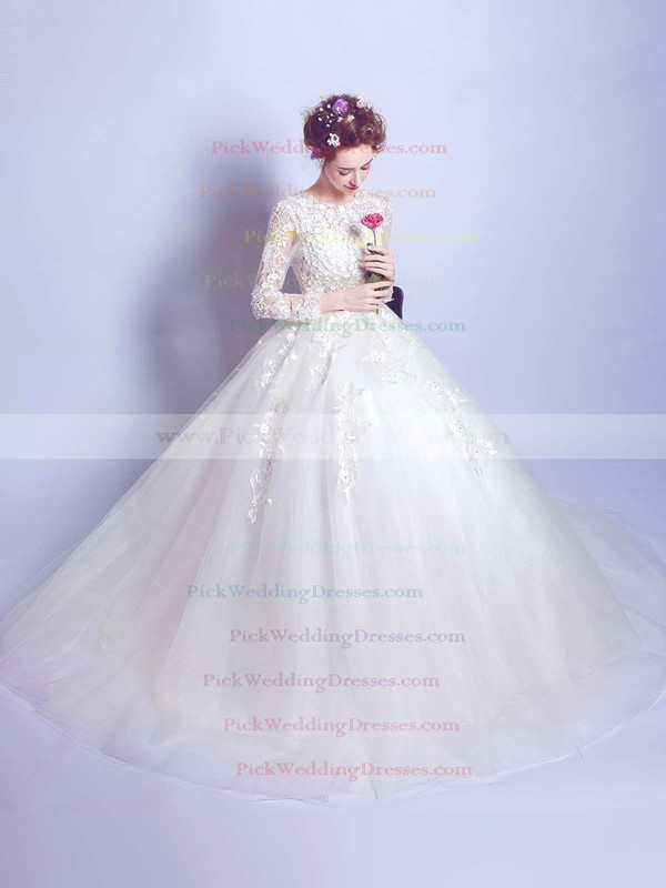 Ball Gown Scoop Neck Tulle Appliques Lace Floor-length Long Sleeve Famous Wedding Dresses #PWD00022872