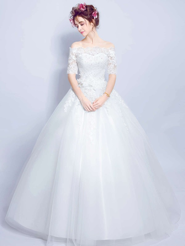 Ball Gown Off-the-shoulder Tulle Appliques Lace Floor-length 1/2 Sleeve Sweet Wedding Dresses #PWD00022873