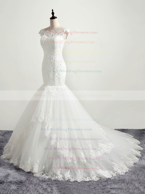 Affordable Trumpet/Mermaid Scoop Neck Tulle with Appliques Lace Sweep Train Wedding Dresses #PWD00022874