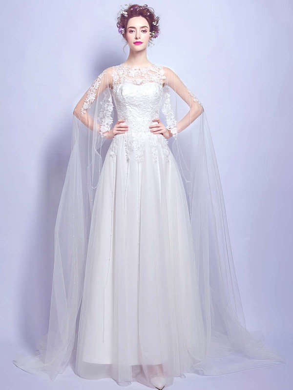 Fabulous A-line Scoop Neck Tulle with Appliques Lace Floor-length Wedding Dresses #PWD00022875