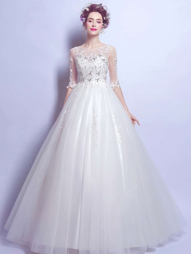 Ball Gown Scoop Neck Tulle Appliques Lace Floor-length 1/2 Sleeve Classy Wedding Dresses #PWD00022876