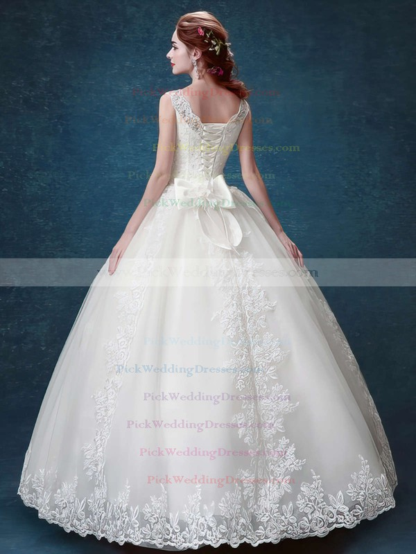 Elegant Ball Gown Scoop Neck Satin Tulle with Bow Floor-length Lace-up Wedding Dresses #PWD00022877