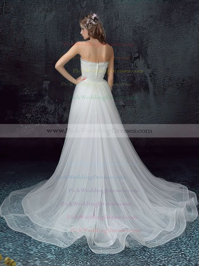 New Style A-line Sweetheart Organza Tulle Appliques Lace Asymmetrical Wedding Dresses #PWD00022878