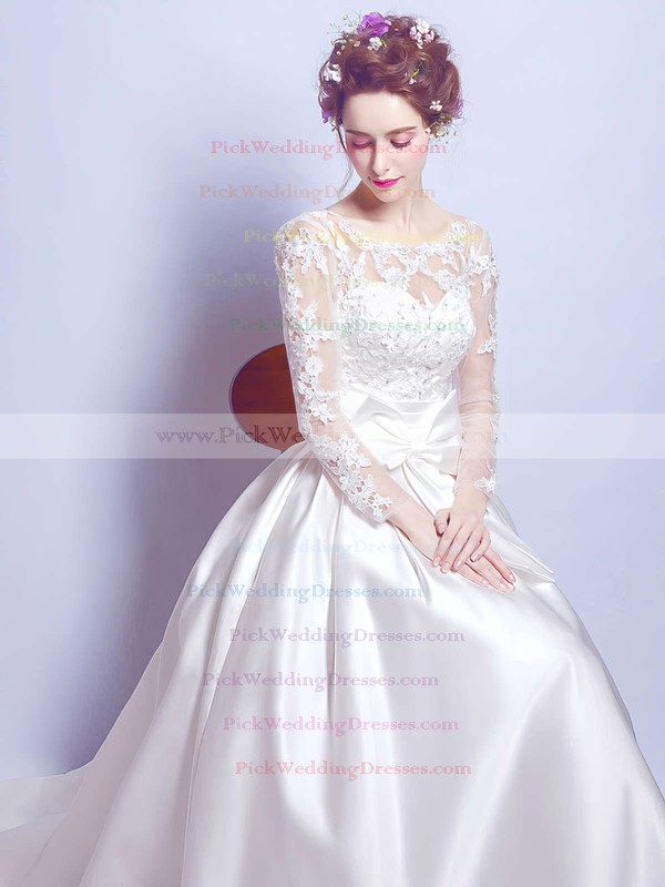 Ball Gown Scoop Neck Satin Tulle Appliques Lace Court Train Long Sleeve Noble Wedding Dresses #PWD00022879