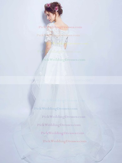 A-line Scoop Neck Organza Tulle Appliques Lace Asymmetrical 1/2 Sleeve High Low Unique Wedding Dresses #PWD00022880