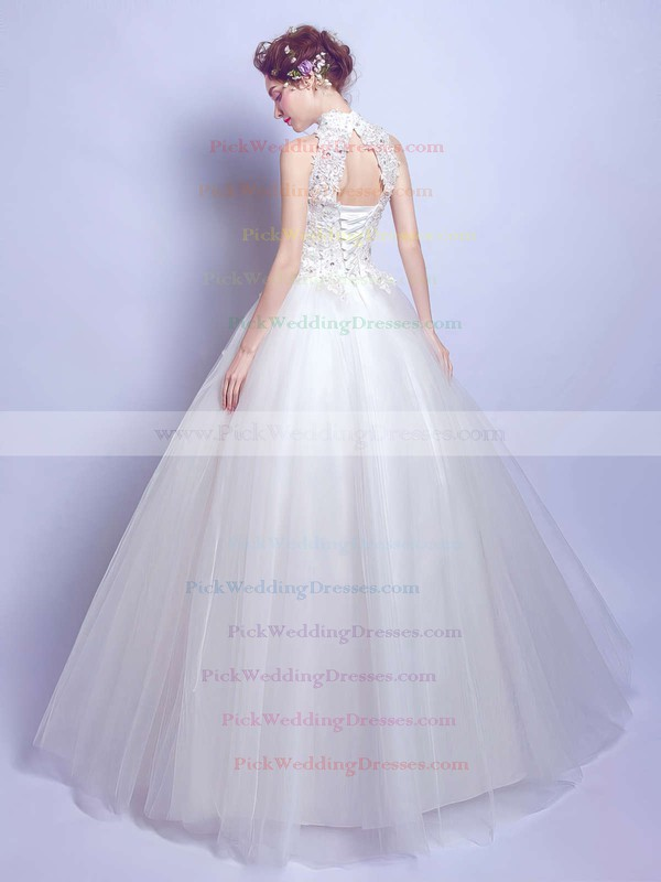 Modest Ball Gown High Neck Tulle Appliques Lace Floor-length Open Back Wedding Dresses #PWD00022881