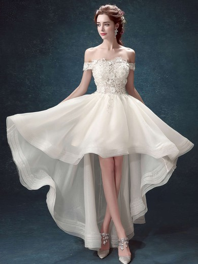 A-line Off-the-shoulder Organza Tulle Appliques Lace Asymmetrical High Low Different Wedding Dresses #PWD00022882