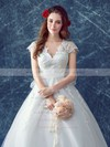 Beautiful Ball Gown V-neck Tulle Appliques Lace Court Train Cap Straps Wedding Dresses #PWD00022883