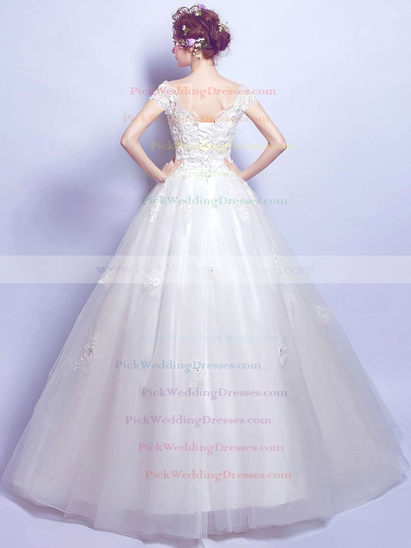 Ball Gown V-neck Tulle Appliques Lace Floor-length Short Sleeve Perfect Wedding Dresses #PWD00022884