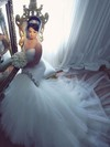 Trumpet/Mermaid V-neck Tulle with Beading Court Train Backless Amazing Wedding Dresses #PWD00022885