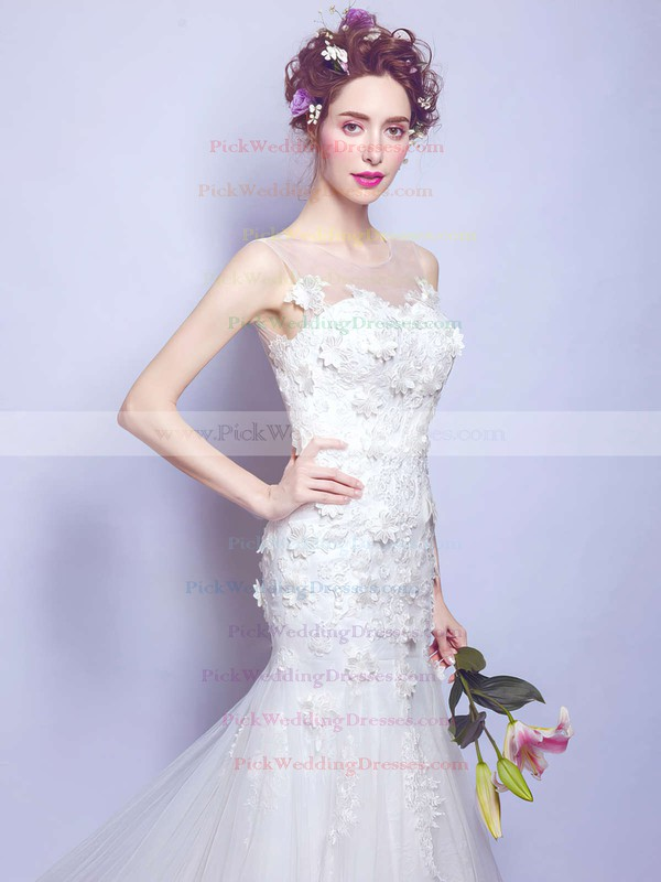 Trumpet/Mermaid Scoop Neck Tulle Appliques Lace Court Train Open Back Classy Wedding Dresses #PWD00022886