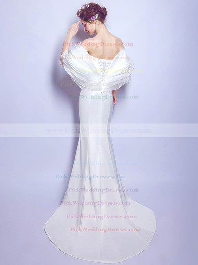 Latest Trumpet/Mermaid Off-the-shoulder Organza Silk-like Satin Ruffles Sweep Train Wedding Dresses #PWD00022887