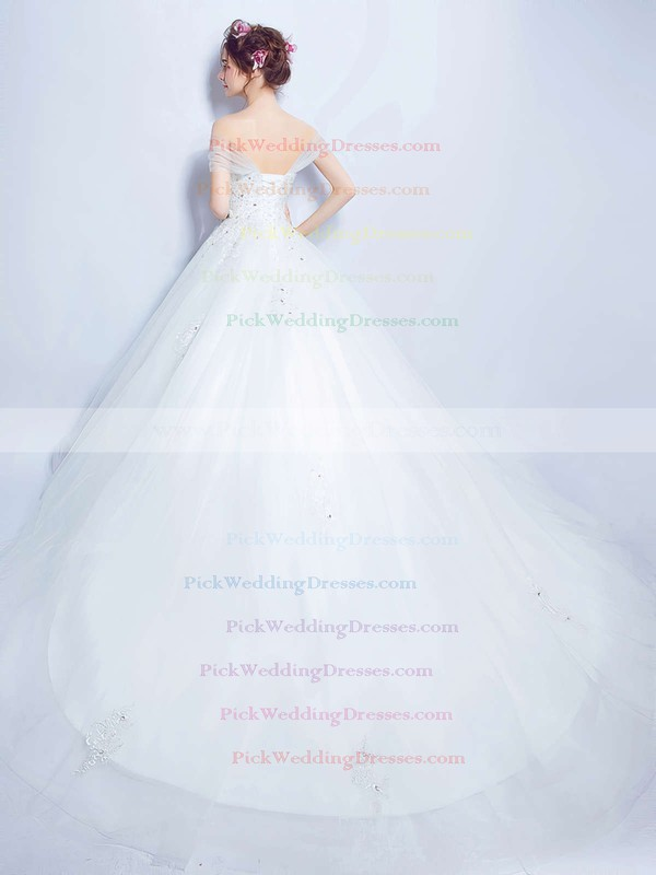 Ball Gown Off-the-shoulder Tulle with Beading Court Train Backless Glamorous Wedding Dresses #PWD00022888