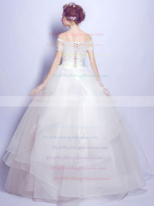 Ball Gown Off-the-shoulder Organza Tulle Pearl Detailing Floor-length Short Sleeve Sweet Wedding Dresses #PWD00022889