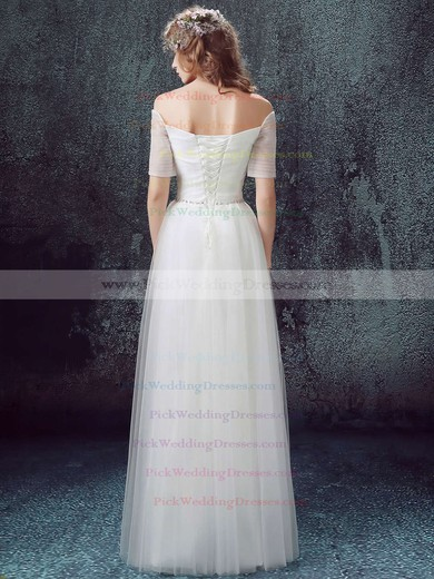 A-line Off-the-shoulder Tulle with Ruffles Floor-length Short Sleeve Famous Wedding Dresses #PWD00022890