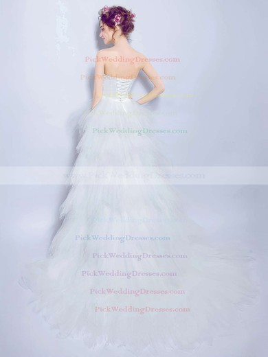 A-line Sweetheart Tulle with Beading Asymmetrical High Low New Arrival Wedding Dresses #PWD00022891