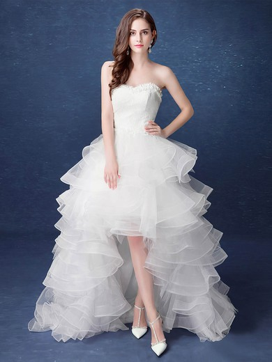 Exclusive A-line Sweetheart Organza with Tiered Asymmetrical High Low Wedding Dresses #PWD00022892