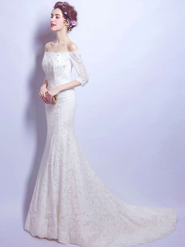 Trumpet/Mermaid Off-the-shoulder Lace with Beading Sweep Train 3/4 Sleeve Fabulous Wedding Dresses #PWD00022893