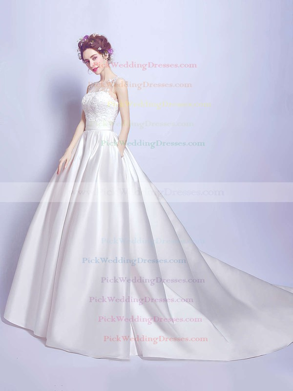 Classic Ball Gown Scoop Neck Satin Tulle with Appliques Lace Court Train Wedding Dresses #PWD00022894