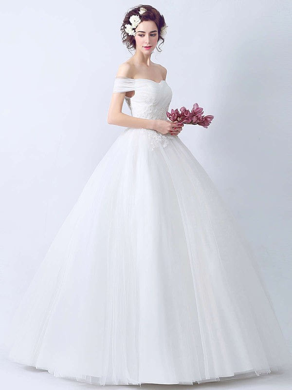 Latest Ball Gown Off-the-shoulder Tulle with Appliques Lace Floor-length Wedding Dresses #PWD00022895