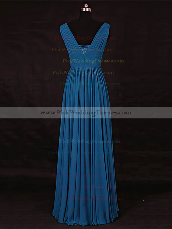 Chiffon V-neck Floor-length A-line with Ruffles Bridesmaid Dresses #PWD01013115