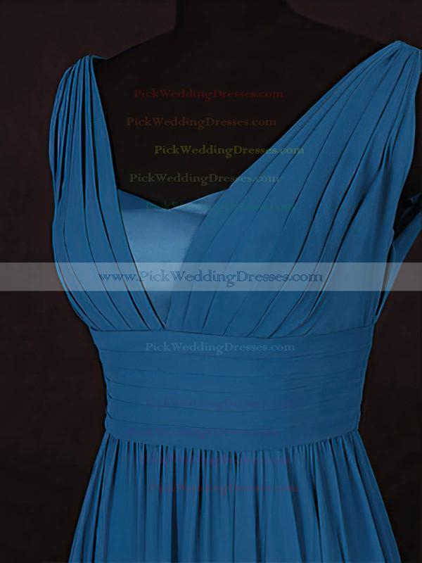 Chiffon V-neck Floor-length A-line with Ruffles Bridesmaid Dresses #PWD01013115