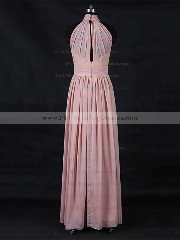 Chiffon High Neck Floor-length A-line with Ruffles Bridesmaid Dresses #PWD01013116