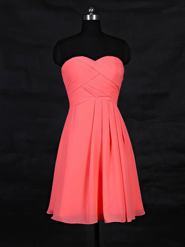 Chiffon Sweetheart Short/Mini A-line with Ruffles Bridesmaid Dresses #PWD01013117
