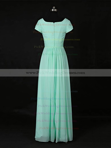 Chiffon Scoop Neck Floor-length A-line with Ruffles Bridesmaid Dresses #PWD01013118