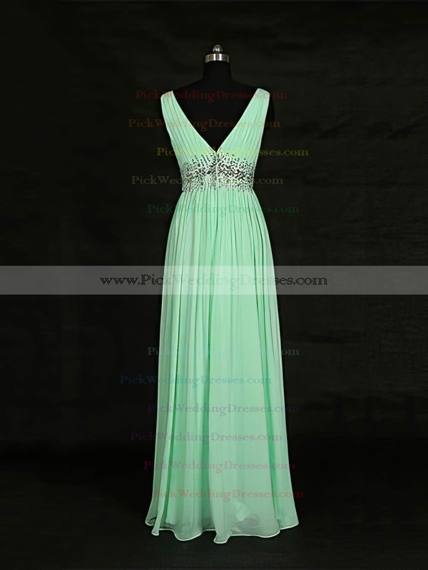 Chiffon V-neck Floor-length A-line with Beading Bridesmaid Dresses #PWD01013119