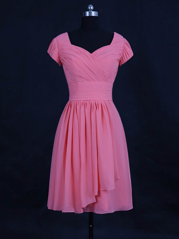 Chiffon V-neck Short/Mini A-line with Ruffles Bridesmaid Dresses #PWD01013120