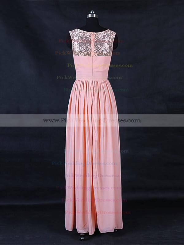 Lace Chiffon Scoop Neck Floor-length A-line with Ruffles Bridesmaid Dresses #PWD01013123