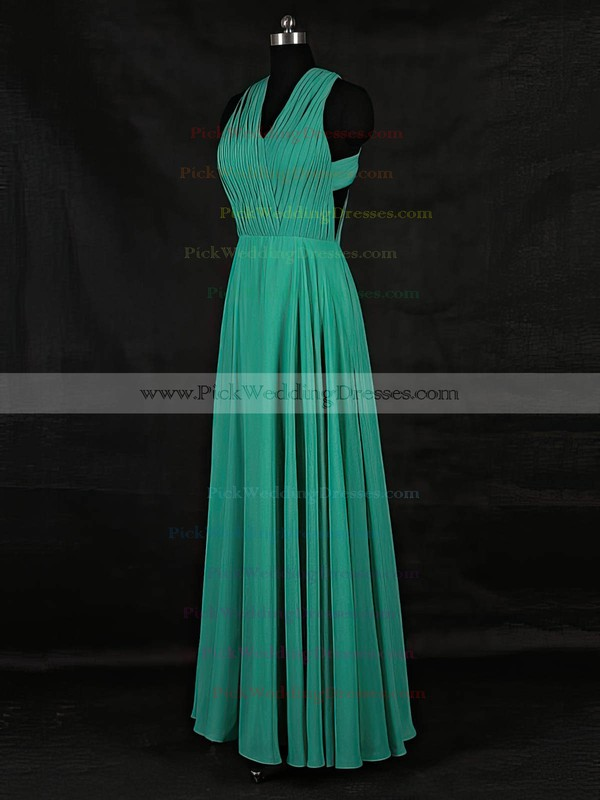Chiffon V-neck Floor-length A-line with Ruffles Bridesmaid Dresses #PWD01013124